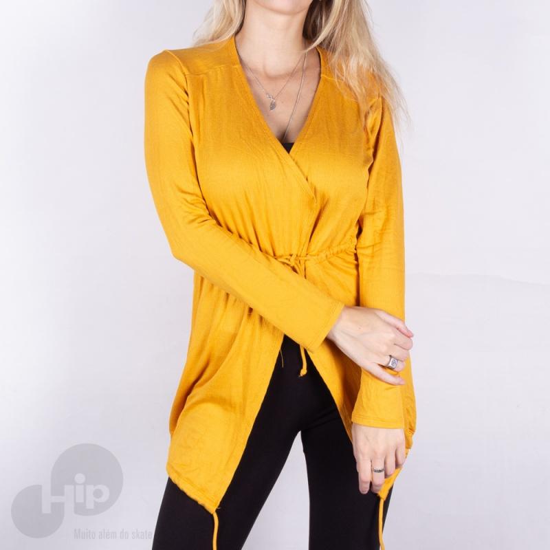 Blusa Riu Kiu Cardigan Com Ajustes Amarela