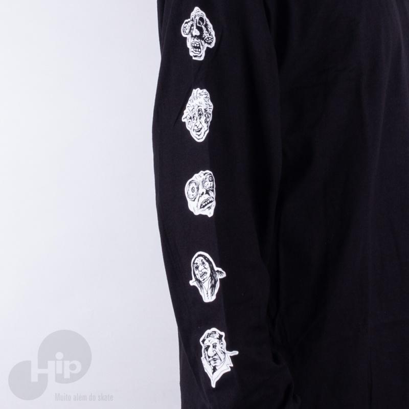 Camiseta Manga Longa Vans Rowan Zorilla Faces Preta