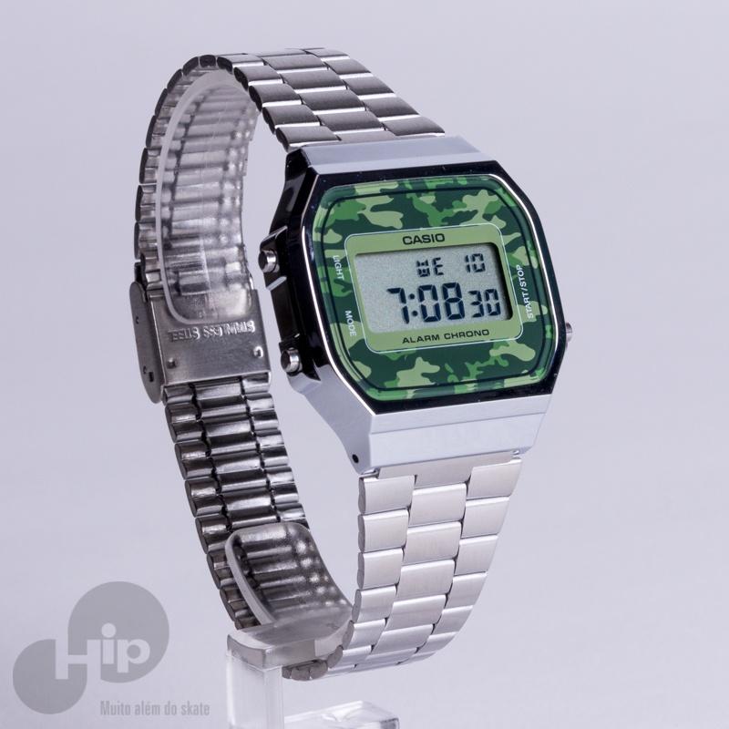 1fea6416305 Relógio Casio A168Wec-3Df Prata e Camuflado - Loja HIP