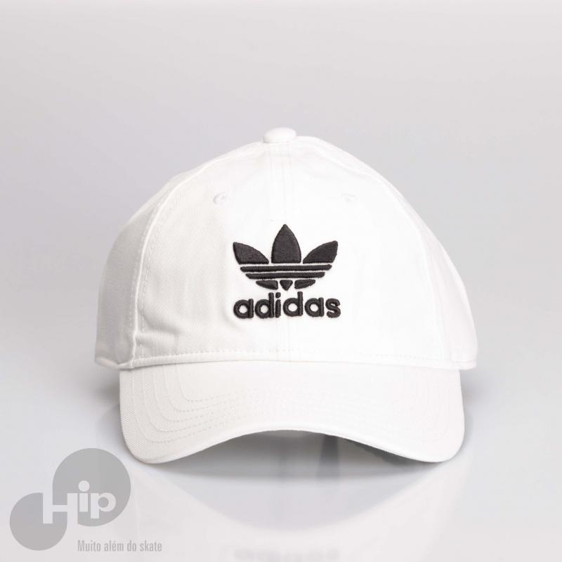 e8ec33835d3df Boné Adidas Aba Curva Trefoil Branco - Loja Hip