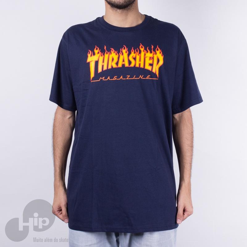 0ec87b7e7 Camiseta Thrasher Flame Logo Azul Escuro - Loja HIP