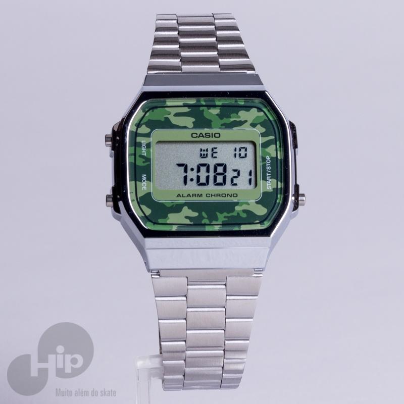 d52142b9b Relógio Casio A168Wec-3Df Prata e Camuflado - Loja HIP