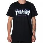 Camiseta Thrasher Flames Logo Sky Preto