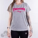 Baby Look Thrasher Mag Logo Cinza Claro