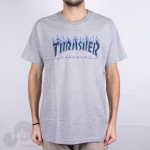 Camiseta Thrasher Purple Flame Cinza Claro