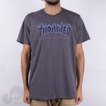 Camiseta Thrasher Purple Flame Cinza Escuro